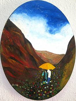 Lovers in a valley by Rejeena Niaz