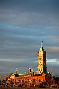 Mary McAvoy - Lowell MA Clock Tower at Sunset