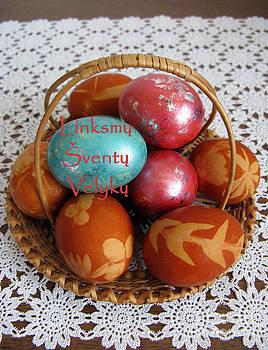 LT Merry Holy Easter. Lithuanian greeting by Ausra Huntington nee Paulauskaite