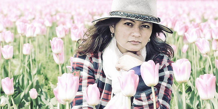 Paul W Sharpe Aka Wizard of Wonders - Lydia Surrounded By Pink Tulips