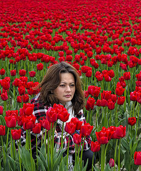 Paul W Sharpe Aka Wizard of Wonders - Lydia Surrounded By Red Tulips