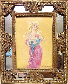 Madonna and Child mirrored gilt frame by Brenda  Bell