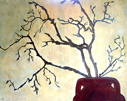 Magnolia Branches In Red Pot by Melynnda Smith