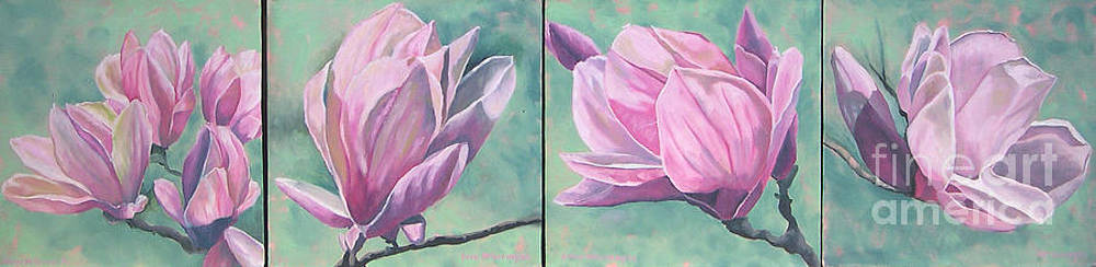 Magnolias times 4 by Joan McGivney