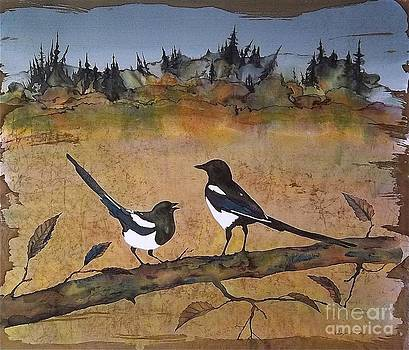 Magpies in the last of Autumns Leaves by Carolyn Doe