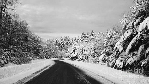 Maine Winter Backroad - One Lane Bridge by Christy Bruna