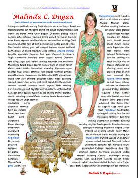 Malinda Dugan NameArte ePortrait by Joseph David Thomas