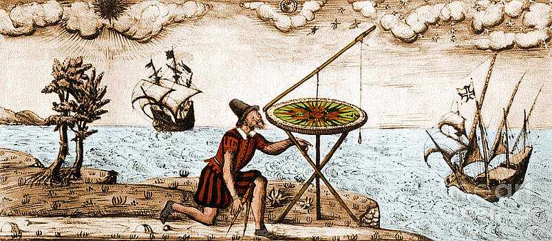 Science Source - Man Using Circumferentor 1583