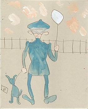Man with dog and balloon by Peter  McPartlin