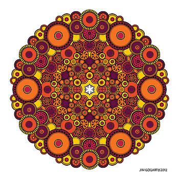 Mandala 37 drawing coloured v1 by Jim Gogarty