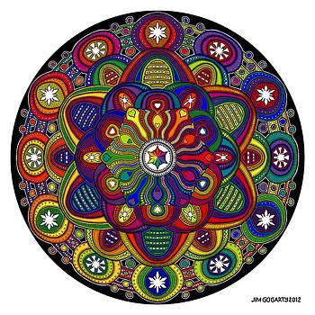 Mandala 42 Drawing Rainbow by Jim Gogarty