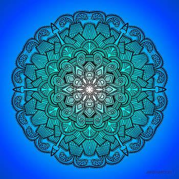 Mandala drawing 21 Blue by Jim Gogarty