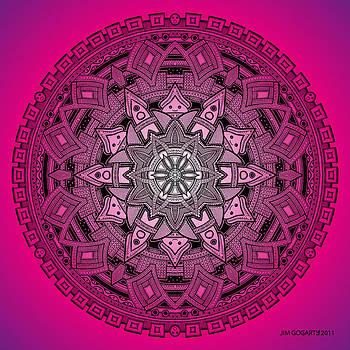 Mandala drawing 25 Pink by Jim Gogarty
