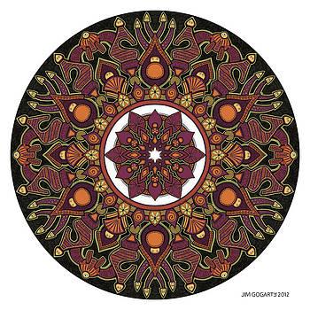 Mandala drawing 32 Coloured v1 by Jim Gogarty