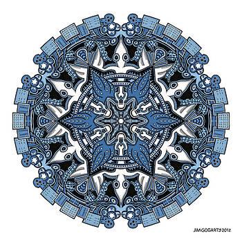 Mandala drawing 34 Coloured v1 by Jim Gogarty