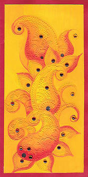 Mangoes on paper by Kanan Khant