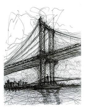 Manhattan Bridge from Rutgers Street NYC by Brendan Higgins