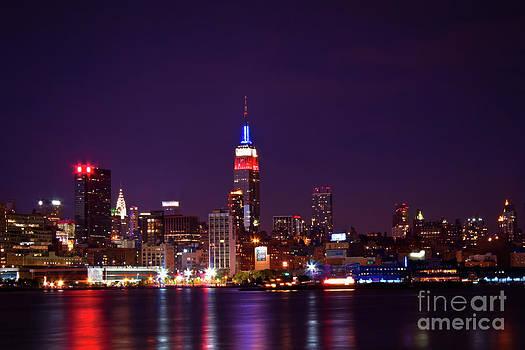 Manhattan Skyline At Night by Archana Doddi