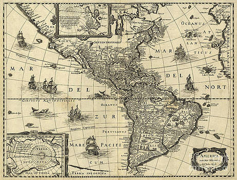 Photo Researchers - Map Of The Americas 1640