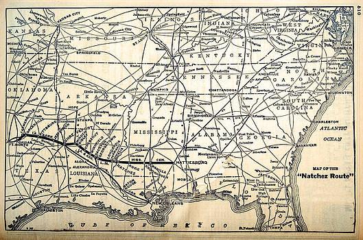 Map of the Natchez Route by Susan Leggett