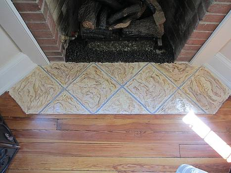 Andrew Hench - Marble Tile Mural Over Brick Hearth