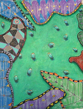 Mariposas Frijoles Y Milagros In Green And Blue by Michael Pedziwiatr