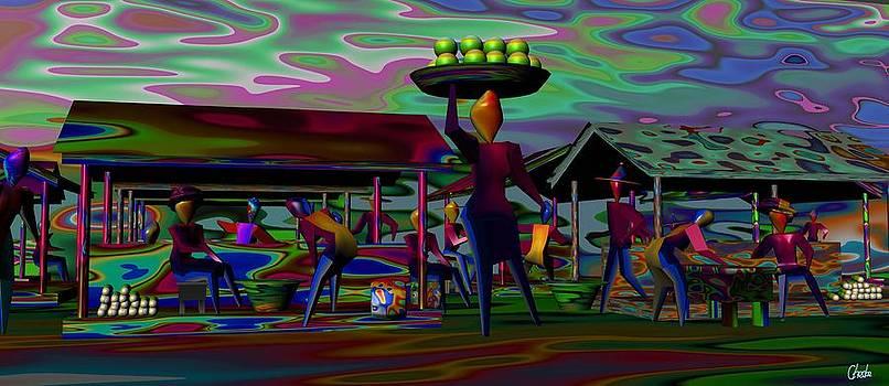 Market scene by Harold Egbune
