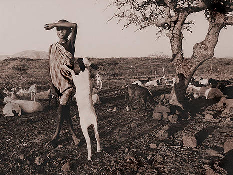 Masai Boy With Goat by JDon Cook