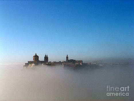 Mdina Citadel in Mist by Mary Attard