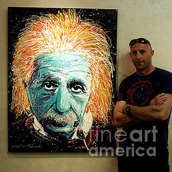 Me and my painting The Scientist by Chris Mackie