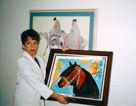 Anne-Elizabeth Whiteway - Me with Horse Watercolor painting