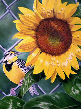 Meadowlark and Sunflower by Donna Francis