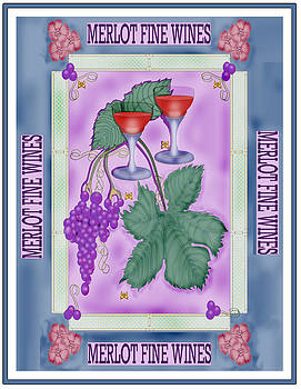 Merlot Fine Wines Orchard Box Label by Anne Norskog