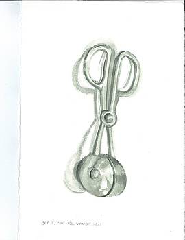 Metal melon ball scissors by Valerie VanOrden