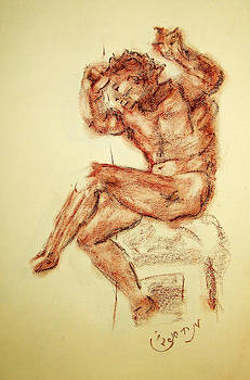Michelangelo Sketch in Terra Cotta Chalk Drawing on Textured Paper of Nude Male Sistine Chapel by MendyZ M Zimmerman