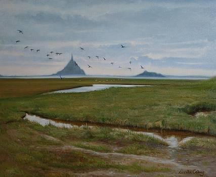 Migrating birds Mont Saint Michel France by Lucinda Coldrey