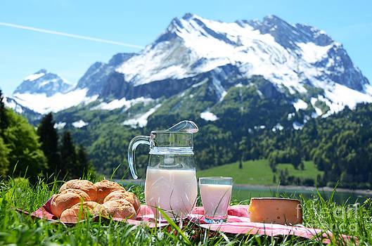 Milk cheese and bread by Alexander Chaikin
