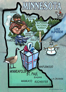 Kevin Middleton - Minnesota Cartoon Map
