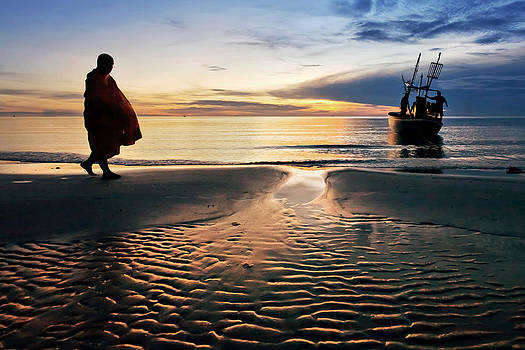 Monk Walk For Food On The Beach by Arthit Somsakul