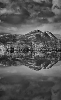 Monochrome Mountain Reflection by Andy Astbury