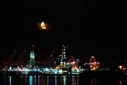 Moon Over Harbor Island-Seattle by Michael Merry