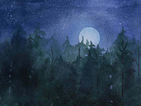 Moon Setting over Forest by Debbie Homewood