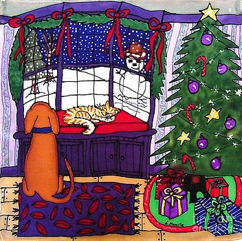 Moses and Barkley on Christmas Eve by Linda Marcille