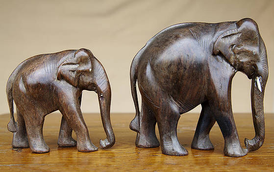 Kantilal Patel - Mother and Baby Elephants