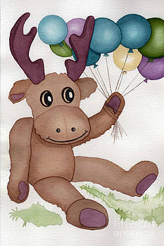 Mr Moose With Balloons by Vikki Wicks