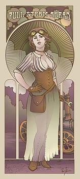 Mucha Inspired Steam Maiden Print by Dani Kaulakis