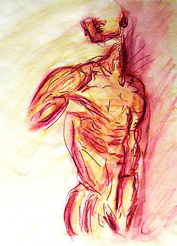 Muscled Male Nude Lying on Side in Classic Erotic Model Pose in Watercolor Purple and Yellow Sketch by M Zimmerman