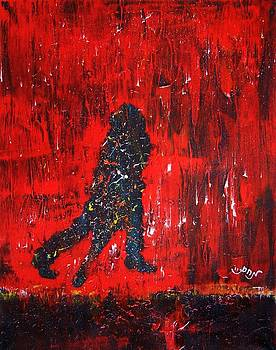 Music Inspired Dancing Tango Couple in Red Rain Contemporary Lyrical Splattered and Emotional by M Zimmerman