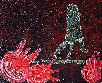 Music Inspired Dancing Tango Couple on Pomegranates in Rain Juice Contemporary Lyrical Splattered by M Zimmerman MendyZ