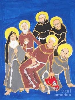 Mychal Judge Carried by Franciscan Saints by JR Leveroni
